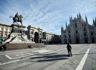 Quảng trường Duomo ở Milan ngày 10/3, sau khi chính phủ Italy phong toả đất nước. Ảnh: Reuters