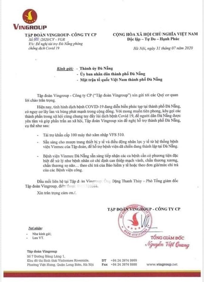 Văn bản đề nghị hỗ trợ thành phố Đà Nẵng chống dịch Covid-19 của Tập đoàn Vingroup.