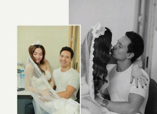 Hồ Ngọc Hà và Kim Lý ở hậu trường chụp ảnh cưới.