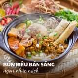 """May be an image of food and text that says """"Top BUN RIÊU BÁN SÁNG ngon nhức nách"""""""