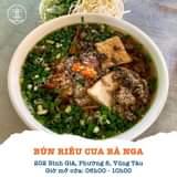 """May be an image of food and text that says """"BÚN RIÊU CUA BÀ NGA 202 Bình Giã, Phường 8, Vũng Tàu Giờ mở cửa: 06h00- 10h00"""""""