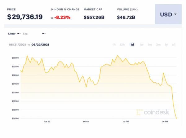 Giá Bitcoin chính thức mất mốc 30.000 USD/đồng. Ảnh: Coin Desk.