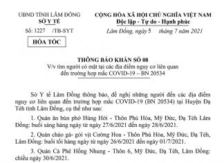 Thông báo khẩn số 08 của Sở Y tế Lâm Đồng