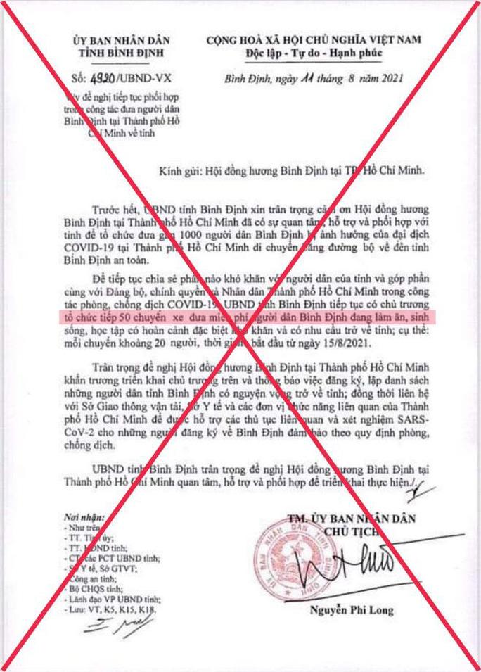 Văn bản giả mạo chữ ký của Chủ tịch UBND tỉnh Bình Định xuất hiện trên mạng xã hội.