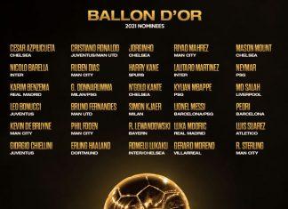 30 ứng viên cho danh hiệu Quả bóng vàng 2021.